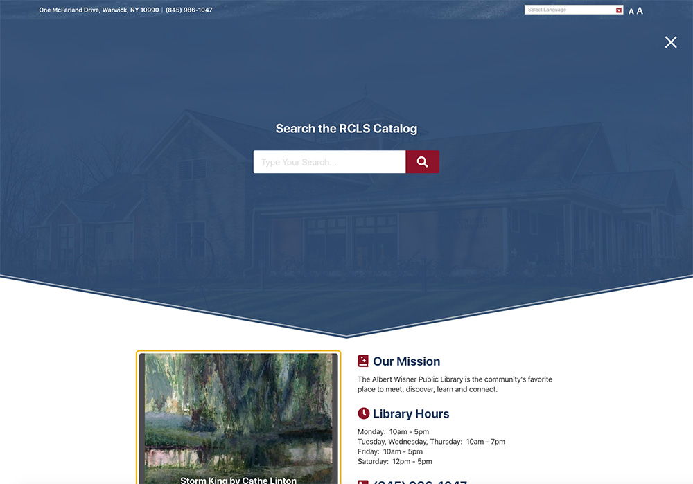 Albert Wisner Public Library Website Screenshot