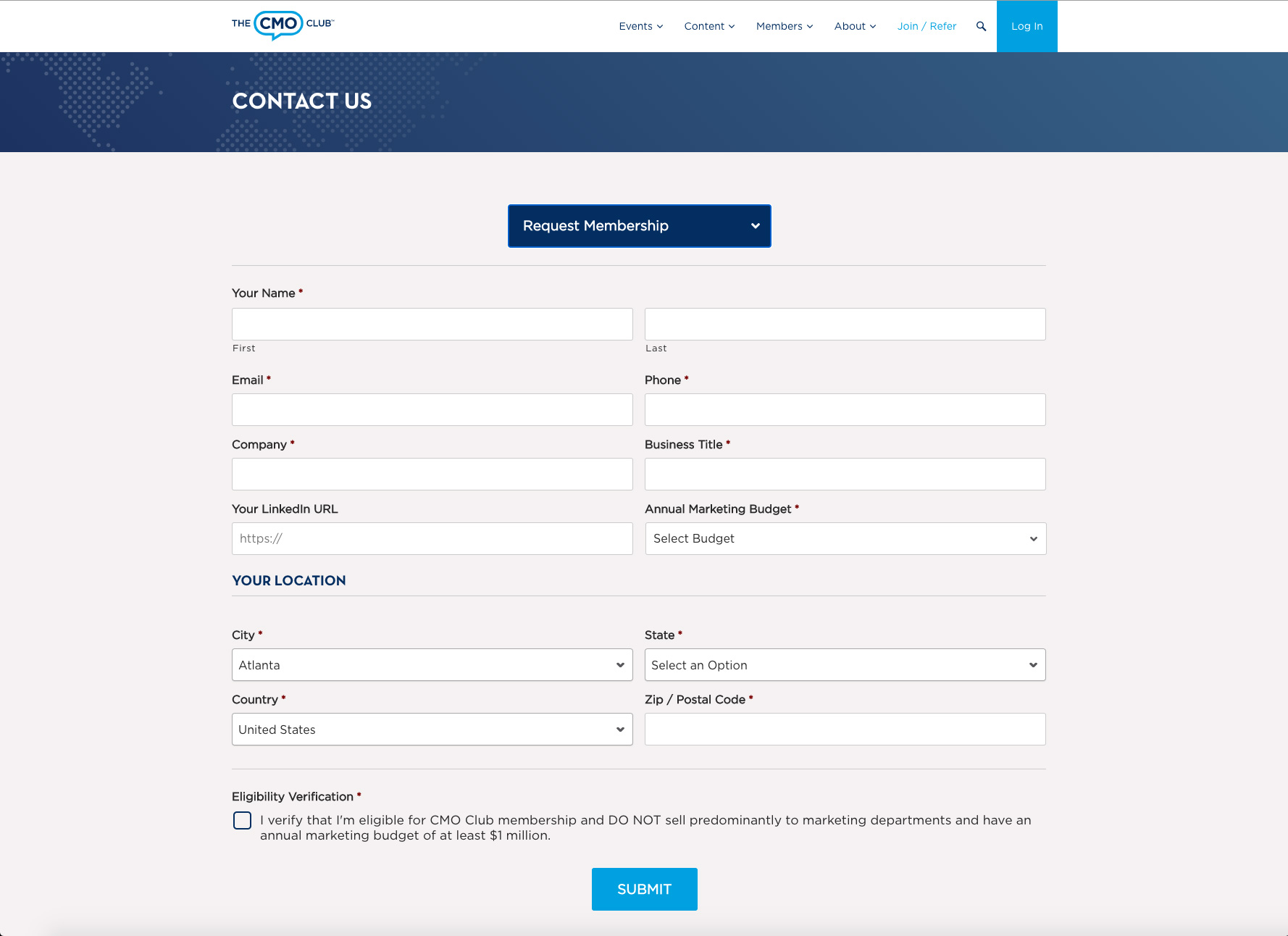 The CMO Club Website Screenshot