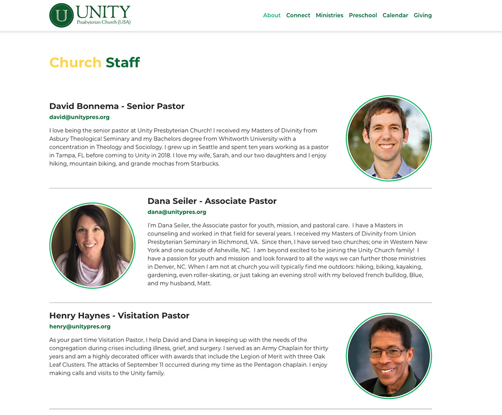 Unity Pres Website Screenshot